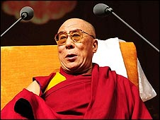 The Dalai Lama before a speech in Nottingham at the Nottingham Arena