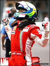 Felipe Massa celebrates taking pole in Monaco