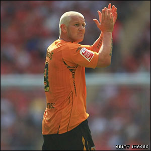 Dean Windass applauds the fans as he is substituted