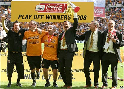 Hull City's manager Phil Brown celebrates after winning the play-off final