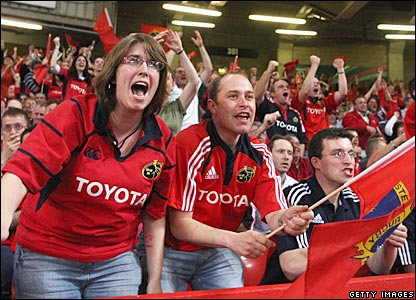 Munster fans cheer their team on on Saturday