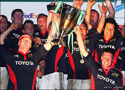Munster celebrate as they lift the Heineken Cup on Saturday in Cardiff