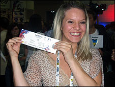 Fiona Pryor with Eurovision ticket