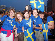 Swedish fans at Eurovision