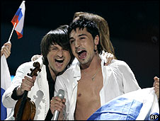 Dima Bilan (right) celebrates his win