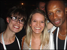 Fiona (centre) with Andy Abraham