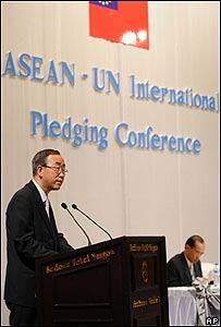 Ban Ki-moon,  conferencia de donantes en Birmania, AP