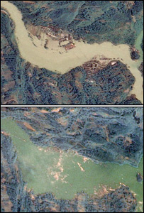 Imágenes satelitales de un represamiento en Beichuan  (Foto: NSPO)
