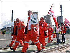 Workers at the Grangemouth oil refinery marching in a row over pensions