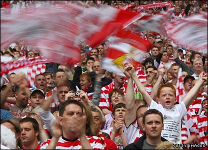 Doncaster Rovers fans in Wembley Stadium