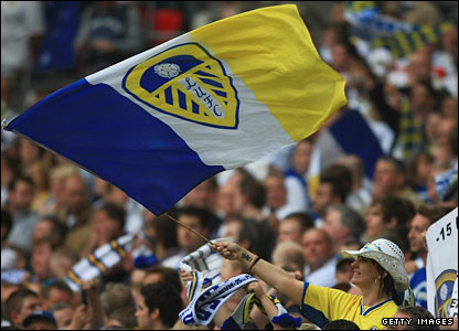 Leeds United fans enjoy the atmosphere prior to the match