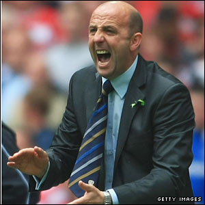 Leeds manager Gary McAllister is put under pressure on the sidelines