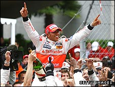 Lewis Hamilton celebrates winning the Monaco Grand Prix