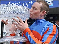 Jockey Seamus Heffernan celebrates after winning the Boylesports Irish 1,000 Guineas on Halfway to Heaven