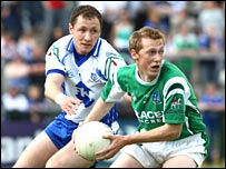 Fermanagh's Tommy McElroy gets ahead of Vincent Corey