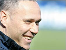 Marco van Basten, coach of the Dutch national team, with new hairdo attends training in Katwijk