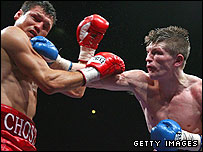 Hatton lands a punch on Juan Lazcano