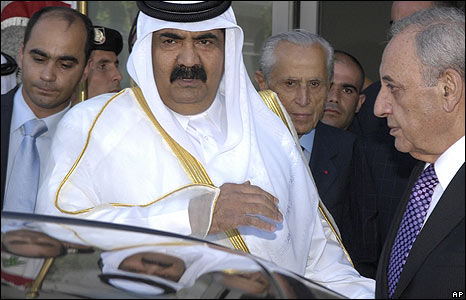 Lebanese Speaker Nabih Berri, right, receives Emir of Qatar, Sheik Hamad bin Khalifa Al Thani, left at Beirut Airport