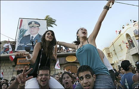 Celebrations in Michel Suleiman's hometown of Aamchit, north of Beirut, as he is elected president.
