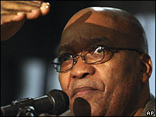 ANC leader Jacob Zuma on Sunday 25 May 2008