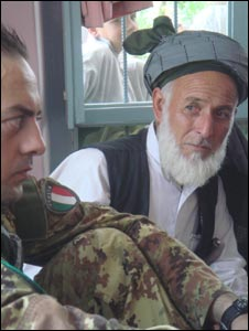 An Afghan elder with an Italian soldier