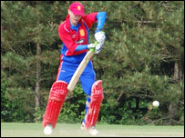 Jersey captain Matty Hague batting against Japan
