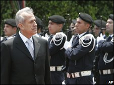 President Suleiman arriving at Baabda palaces