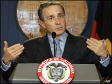 President Alvaro Uribe in a file photo from 17 May 2008
