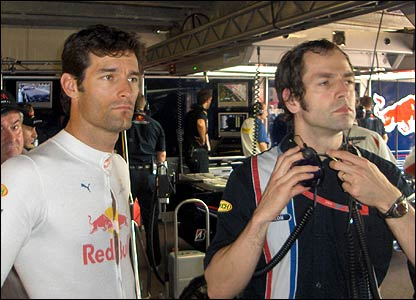 Mark Webber and his race engineer Ciaron Pilbeam