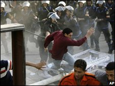 Egyptian riot police break up during demonstration