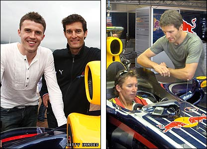 Mark Webber with Monaco guests Michael Carrick and Troy Bayliss