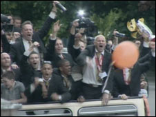 Hull City players parade in open top bus