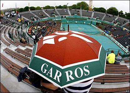 Rain at Roland Garros