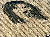 Rostro de Cristina Fernández en campo de soya