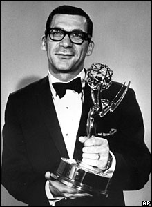 Pollack holds his Emmy award, won for directing The Game, at the Hollywood Palladium, California, 22 May, 1966