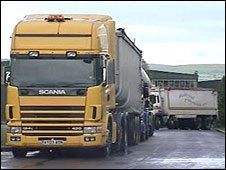 A lorry at a previous fuel protest at Cross Hands, Carmarthenshire