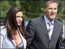 File photo from August 2007 of Maxime Bernier at his swearing-in ceremony with Julie Couillard
