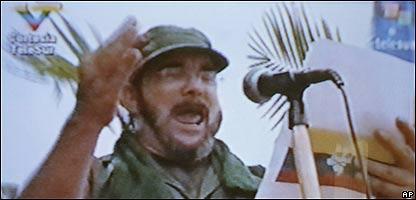 """Timole�n Jim�nez"",  dirigente de las FARC,  en el video transmitido por Telesur, Foto AP"