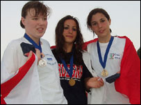 Charlotte Manning (left) with her silver medal