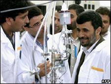 Iranian President Mahmoud Ahmadinejad inspecting centrifuges