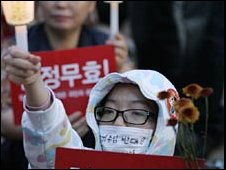 A student shouts slogans at a rally against the beef deal in Seoul on 26 May 2008