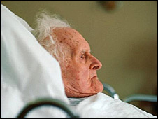 Elderly person in bed