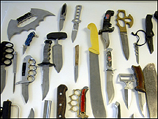 A selection of knives found by police