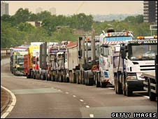 Hauliers protesting against fuel prices