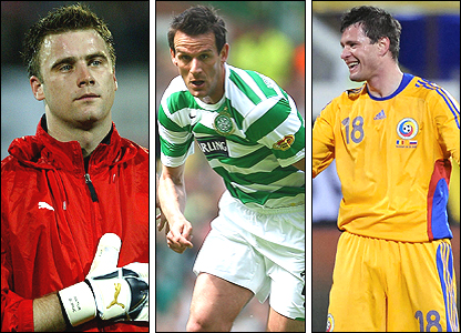 From left: Artur Boruc, Jan Vennegoor of Hesselink, Marius Nicolae