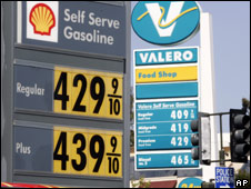 High prices posted at both Valero and Shell petrol stations in San Bruno, California (1.05.08)