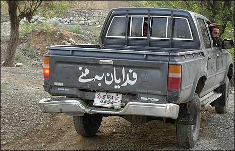 Pro-Taleban militia man in a pick-up