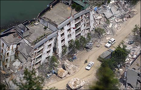 Earthquake destruction in town of Beichuan, China