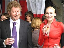 Sebastian Faulks (l) with model Tuuli Shipster