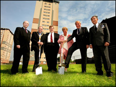 Lt Bernard Sweeney, Provost Tom Curley, Councillor Michael Ross, Mary Sweeney, Col Robert Watson and Bernard Sweeney
